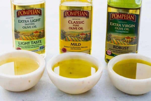 three different types of olive oil