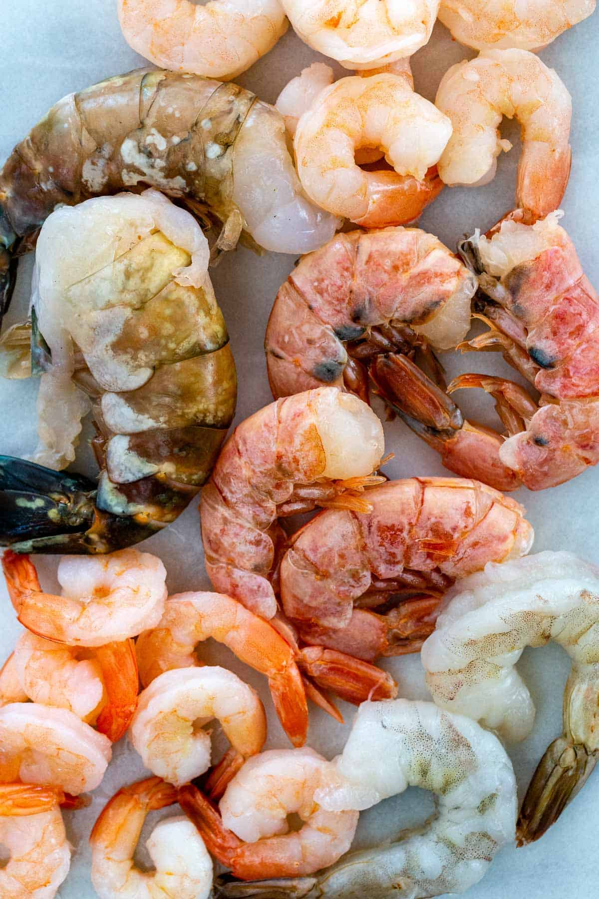 There are several types and sizes of shrimp available in the seafood section of your local supermarket, learn how to shop and what to look for. #shrimp #seafood #shrimpsizes