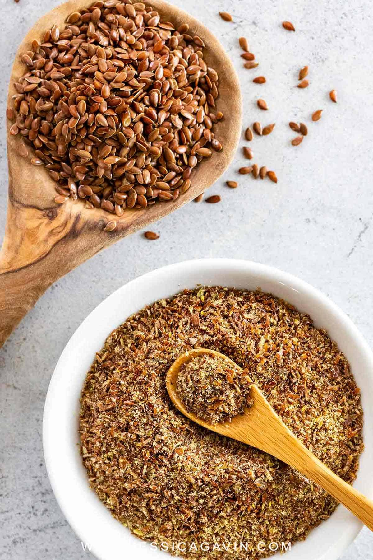 Once you learn all the amazing ways flaxseed benefits heart health and lowers cholesterol levels, you'll be using it every chance you get. #flaxseeds #healthy #hearthealth #healthyrecipes #flaxegg