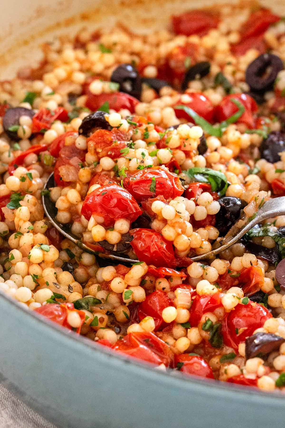 Israeli Couscous with Tomato and Olives