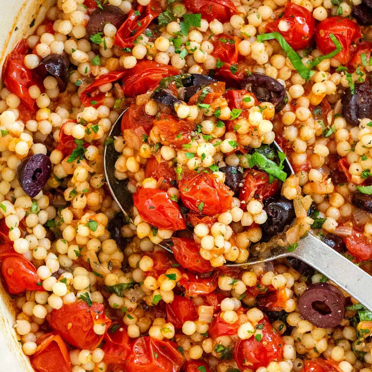 Israeli Couscous With Tomato And Olives Jessica Gavin
