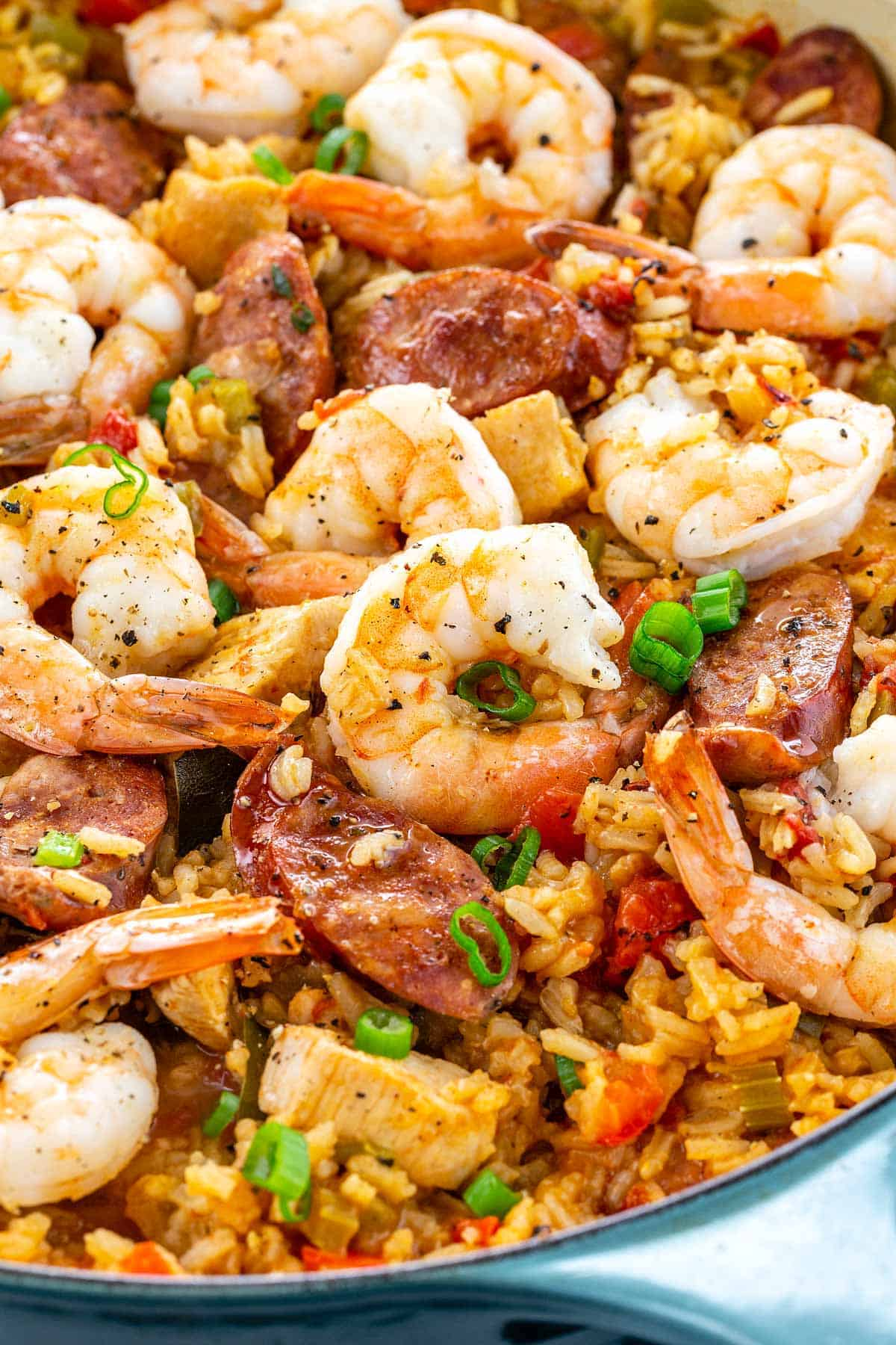 Jambalaya is an appetizing mix of bold creole spices, long grain rice, vegetables, shrimp, chicken, and andouille sausage. #jambalaya #neworleans #creole