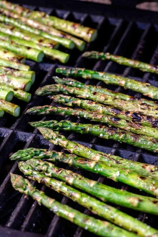 char marks on grilled asparagus