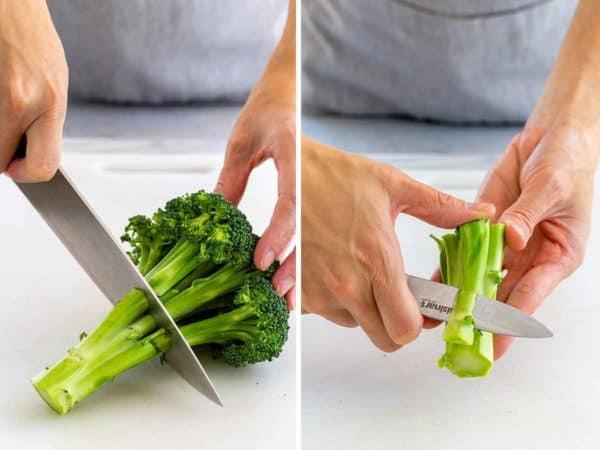 cutting the stalk off a broccoli