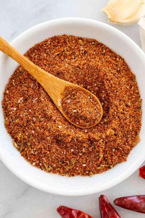 taco seasoning in a small white bowl