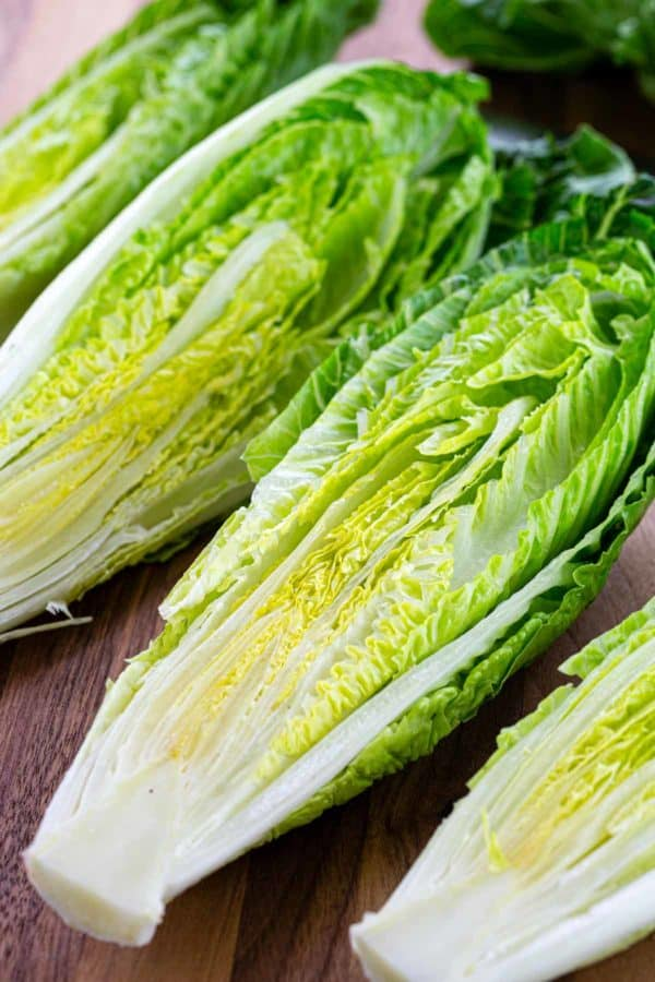 Romaine lettuce sliced in half