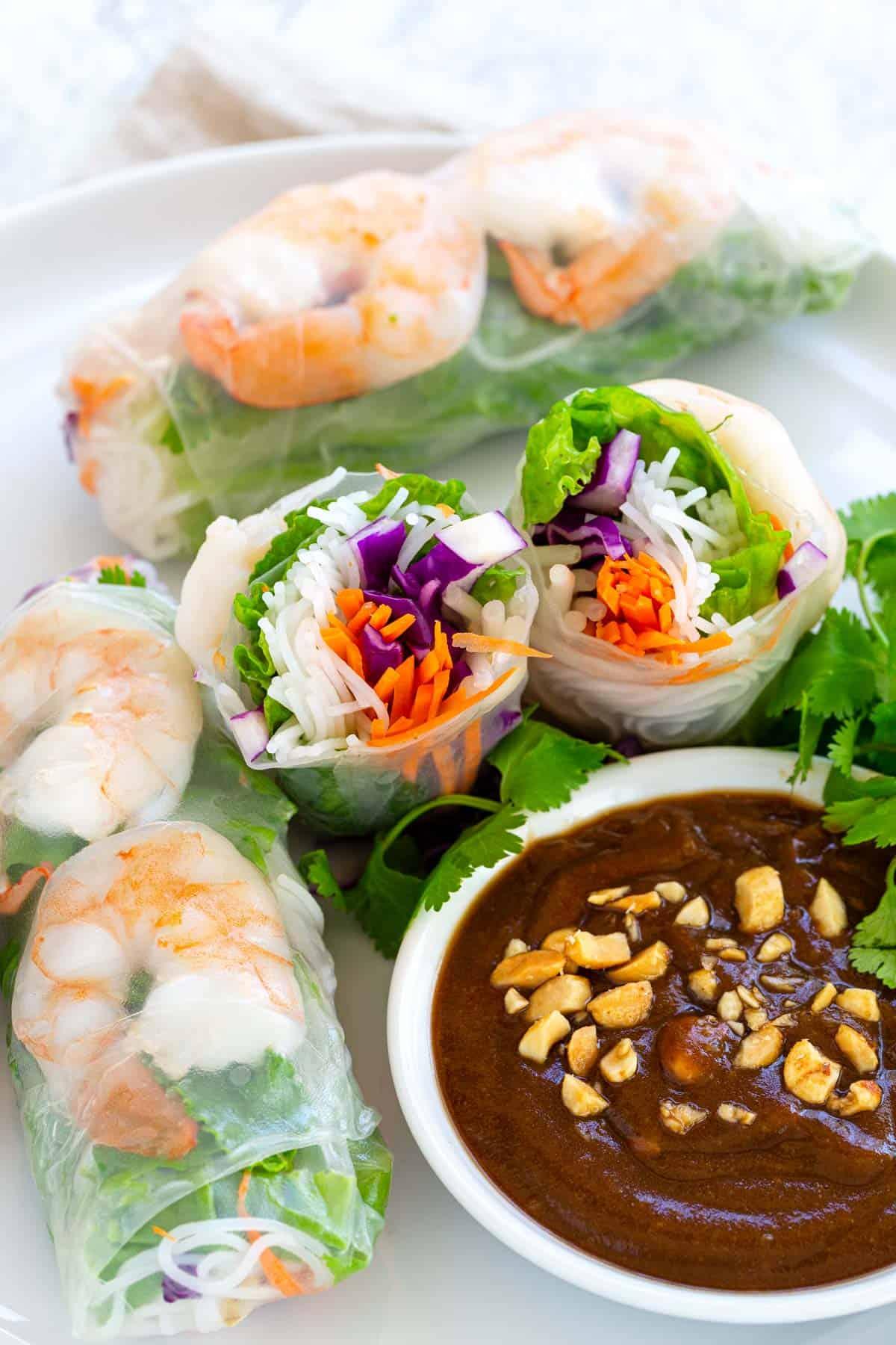 Shrimp Spring Rolls With Peanut Dipping Sauce Jessica Gavin