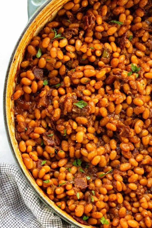 Baked beans inside a dutch oven
