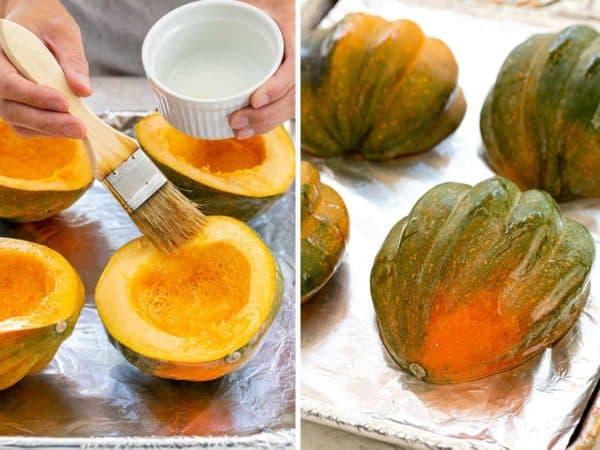 brushing oil on acorn squash halves