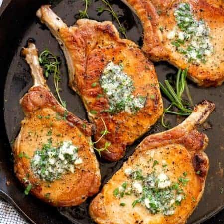 Pan-Fried Pork Chops with Garlic Butter
