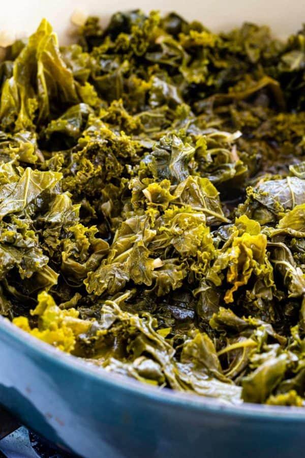 kale braising in a dutch oven