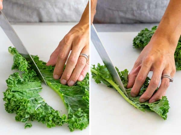 cutting the stem off of a kale leaf