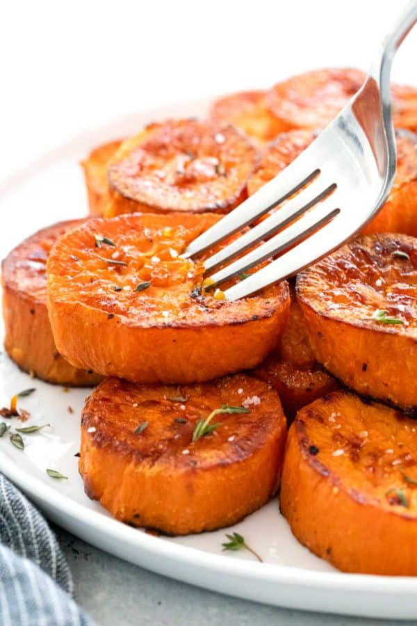 serving platter of roasted sweet potato side dish