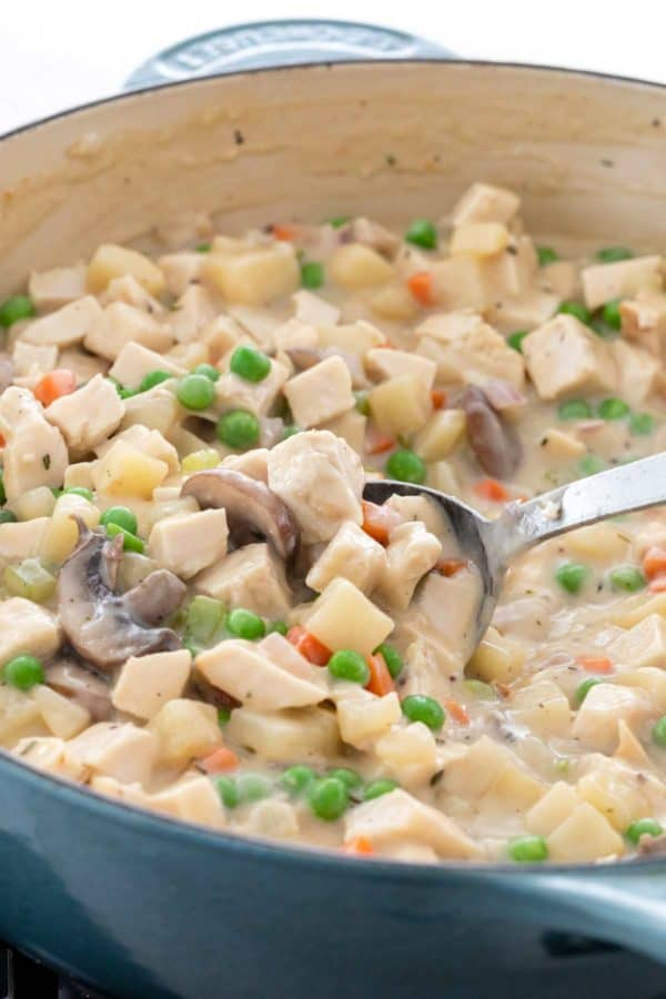 cubes of turkey and chopped pieces of vegetables in a dutch oven
