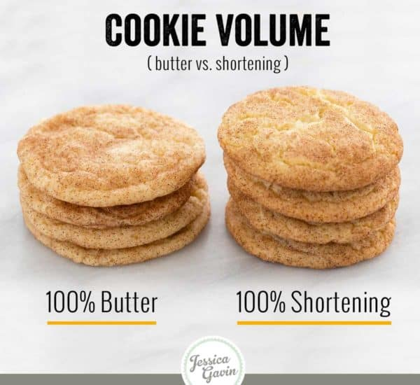 difference of cookie volumes using butter and shortening