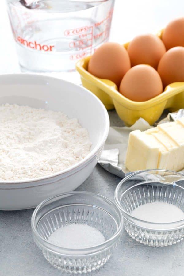 Ingredients to make Pâte à Choux (Choux Pastry)