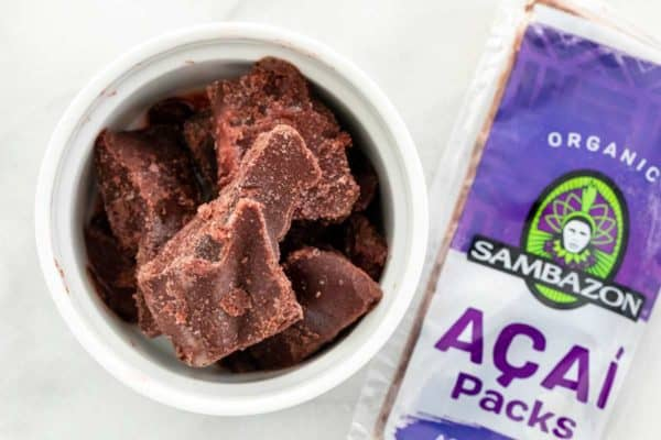 Frozen pieces of acai