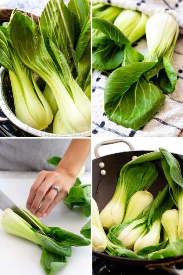 Compilation of four photos showing the process of washing, drying, cutting, and cooking bok choy