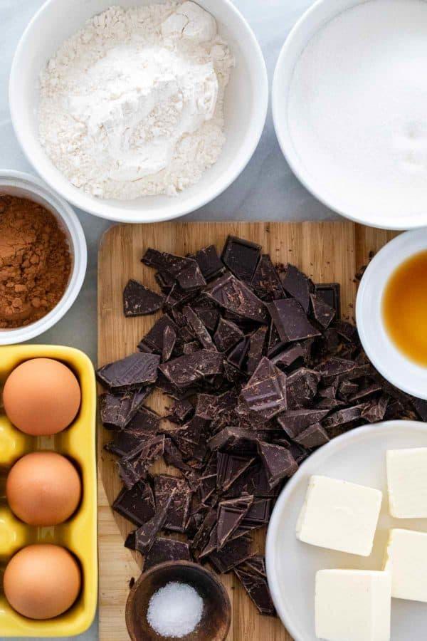 Ingredients to make brownies