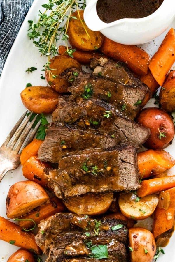 Instant Pot pot roast on a serving platter