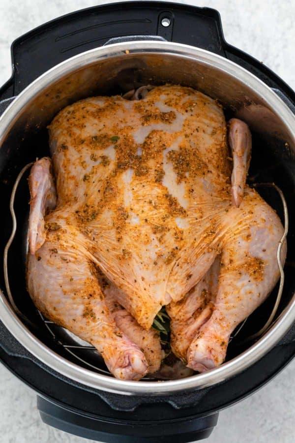 Seasoned raw whole chicken inside of an Instant Pot