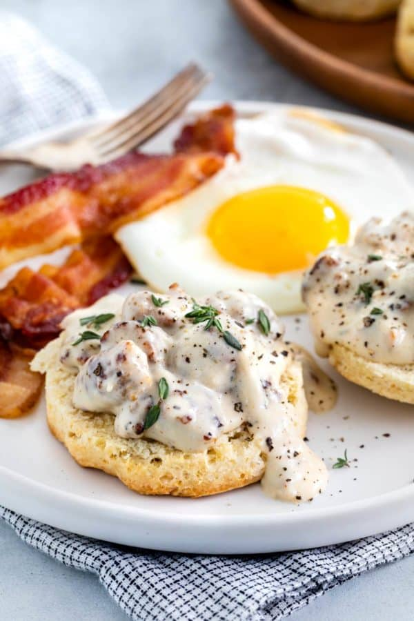 Sausage gravy served over biscuits