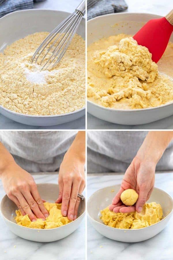Mixing masa harina, salt, and water to make a dough