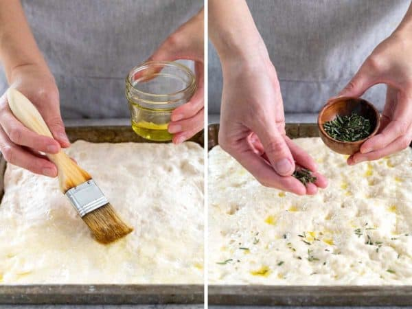 Side by side photo brushing olive oil and sprinkling rosemary over a sheet pan of dough
