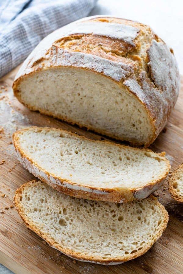 No-knead bread on a cutting board