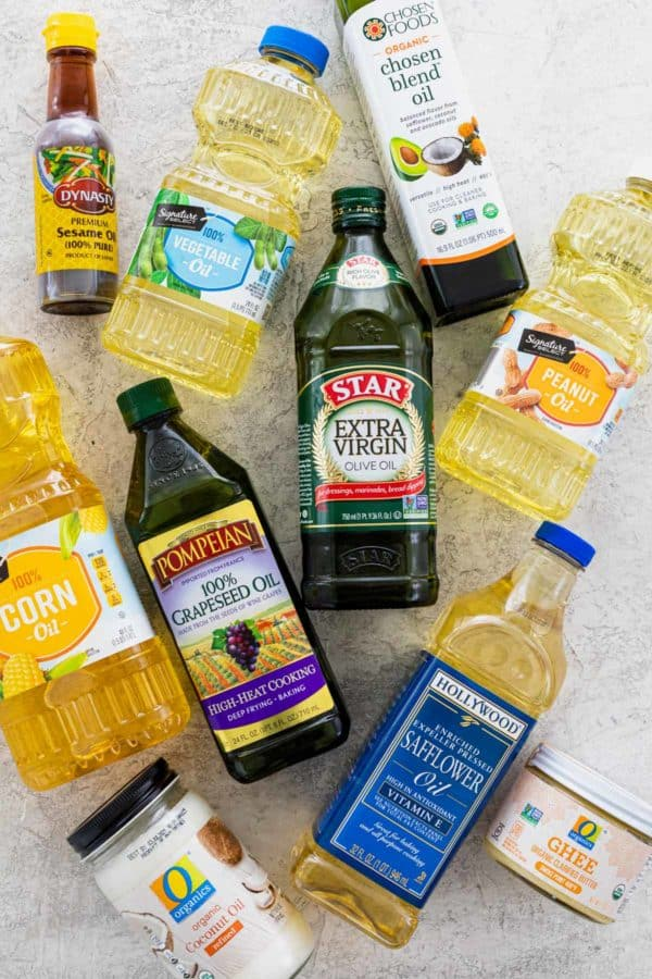 Several bottles of cooking oils and fats
