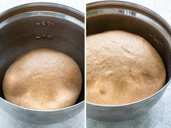 before and after photo of dough rising in a bowl
