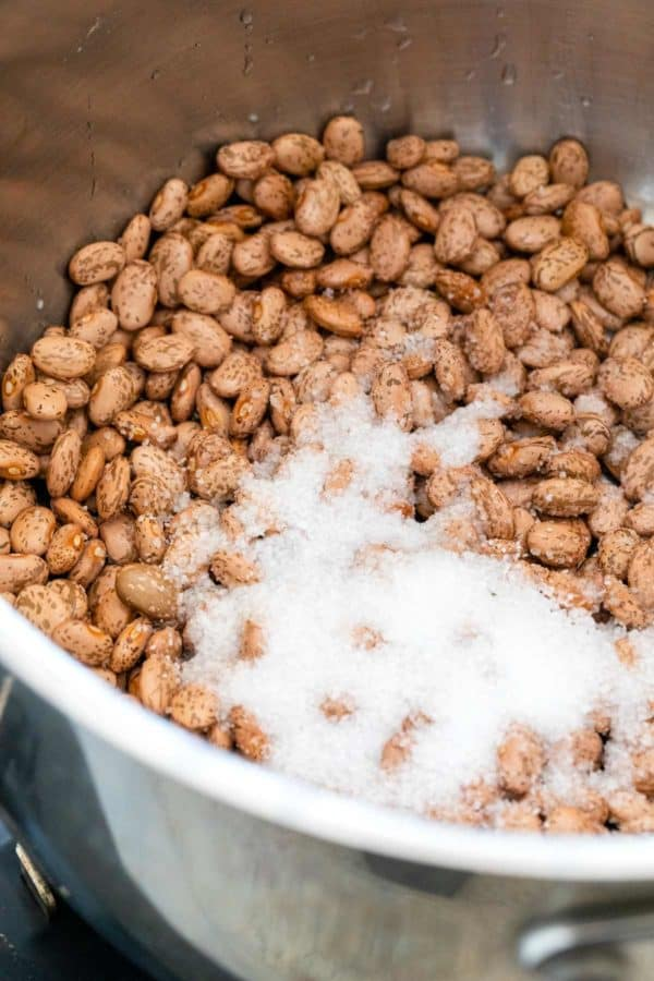 Beans and salt in a large pot