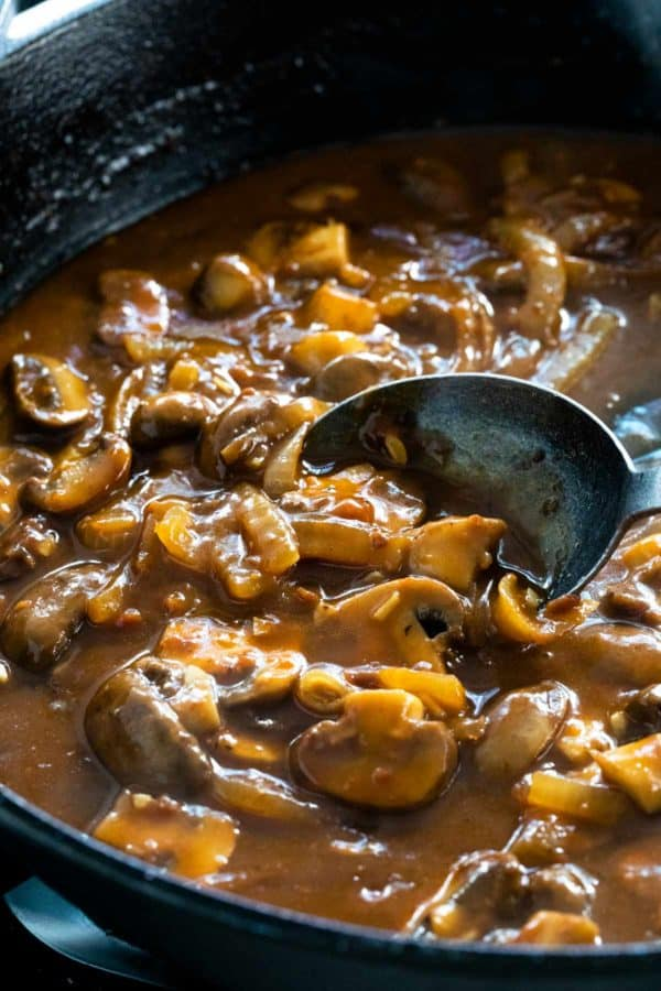 Mushroom pan sauce in a skillet