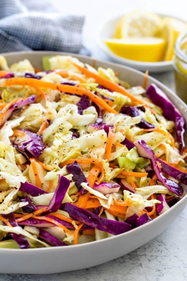 Colorful shreds of vegetables in a bowl