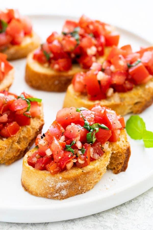 Bruschetta served on a plate