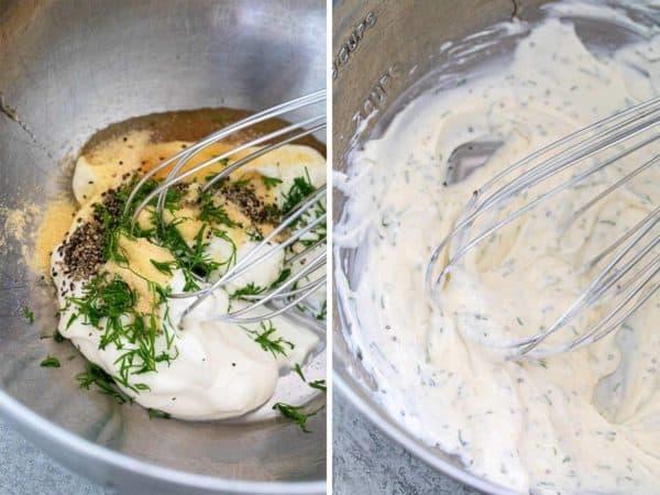 Mixing bowl whisking creamy salad dressing