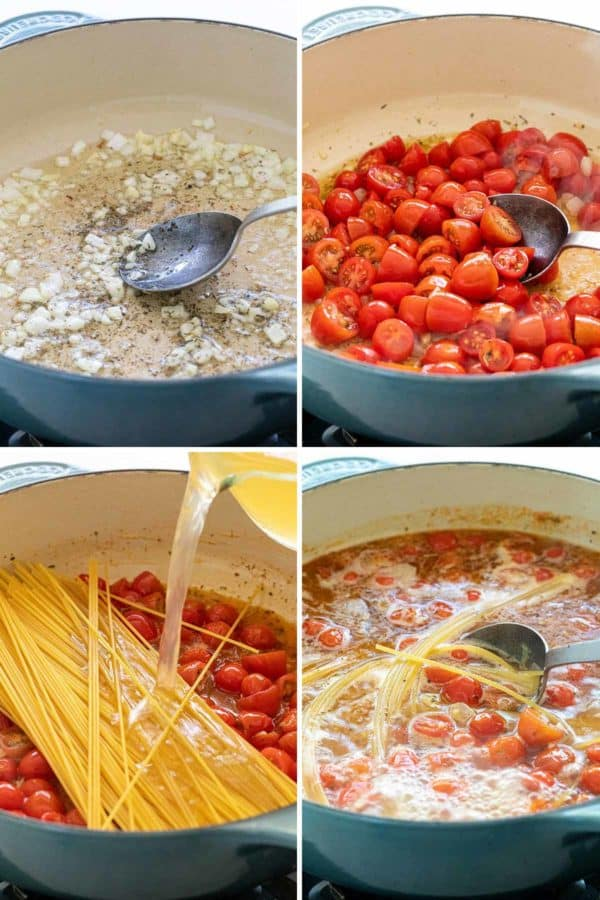 compilation of four photos of tomatoes and pasta cooking