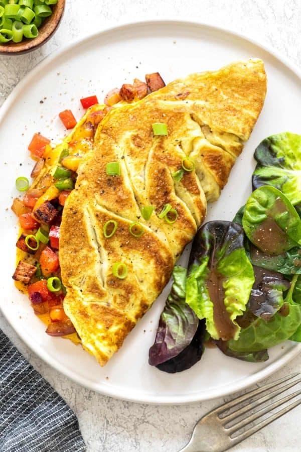Denver omelet on a white plate