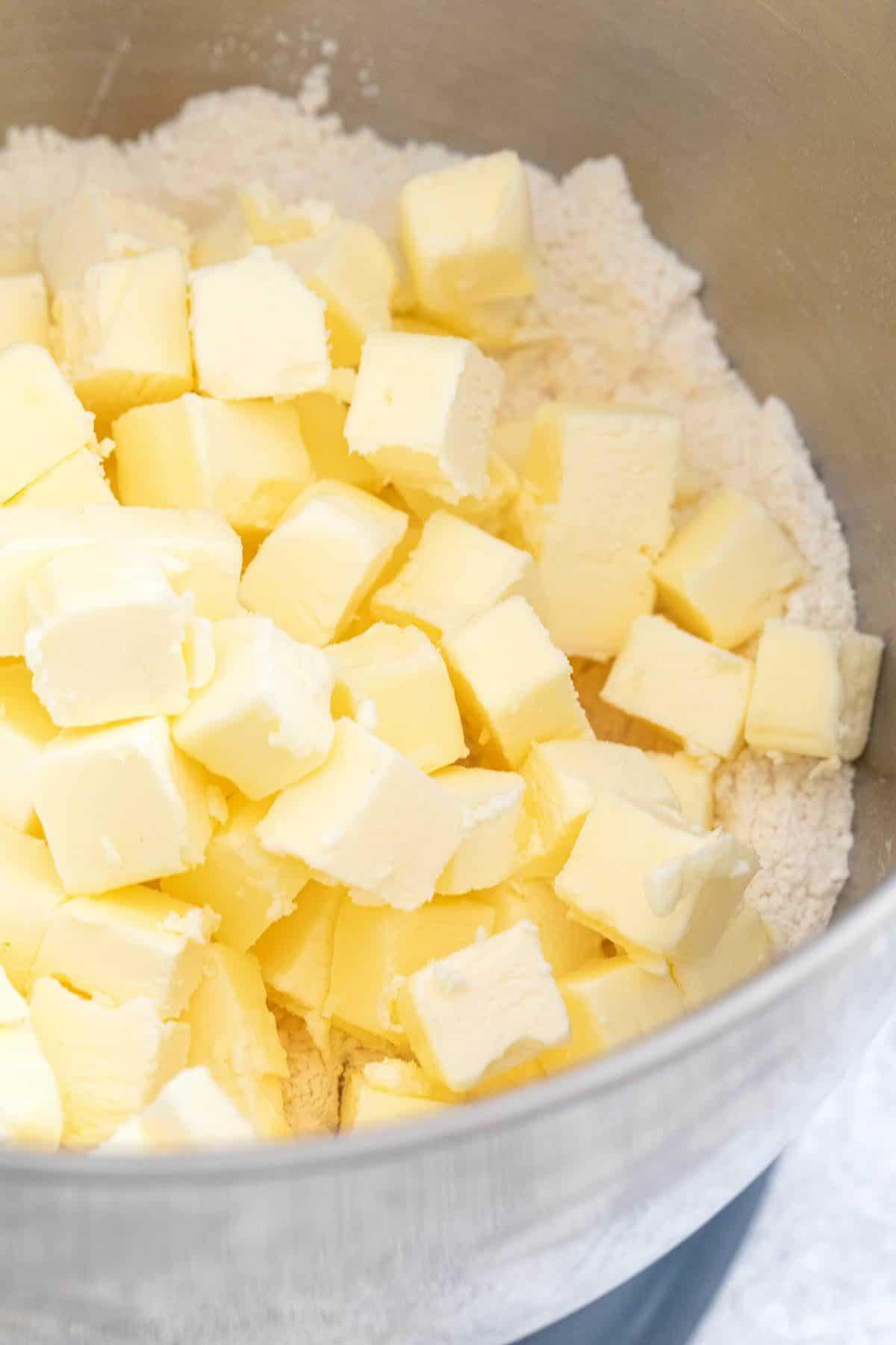 cubes of butter in a mixer