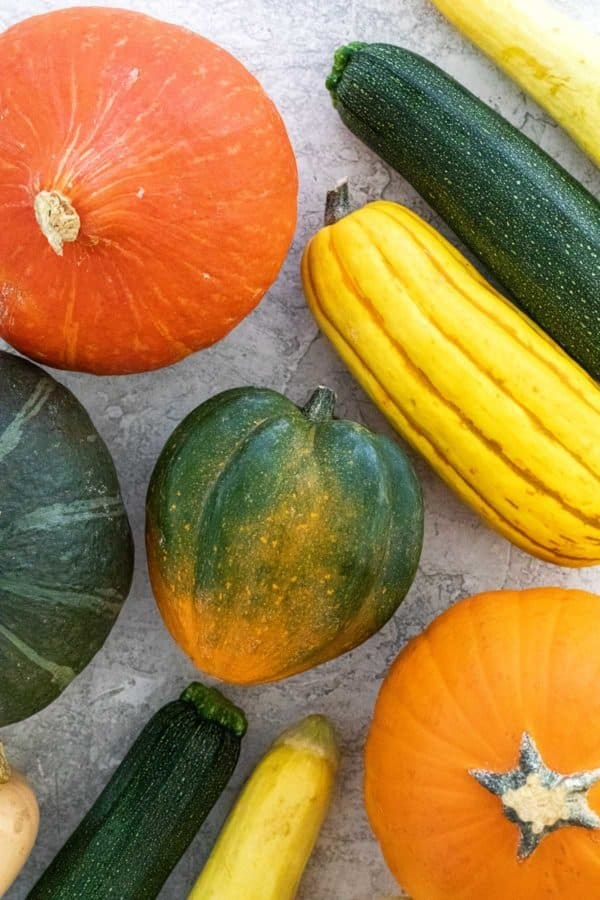 Different types of squash on a table