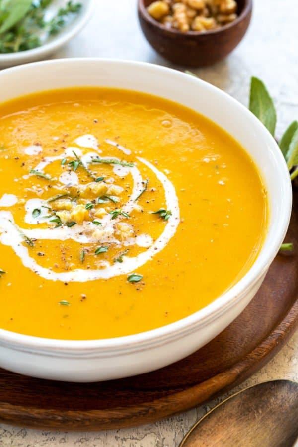 Bowl of acorn squash soup