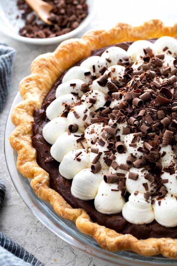 Chocolate cream pie with chocolate shavings on top