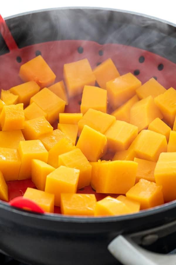 Steamed butternut squash cubes