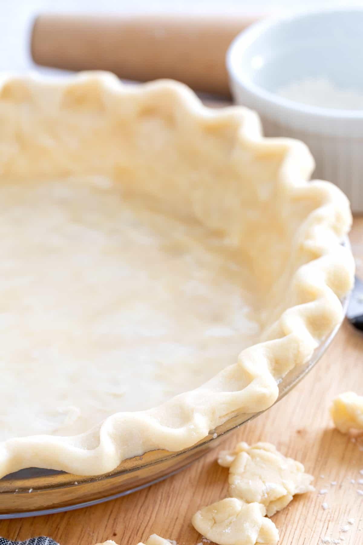 crust in a glass pie dish