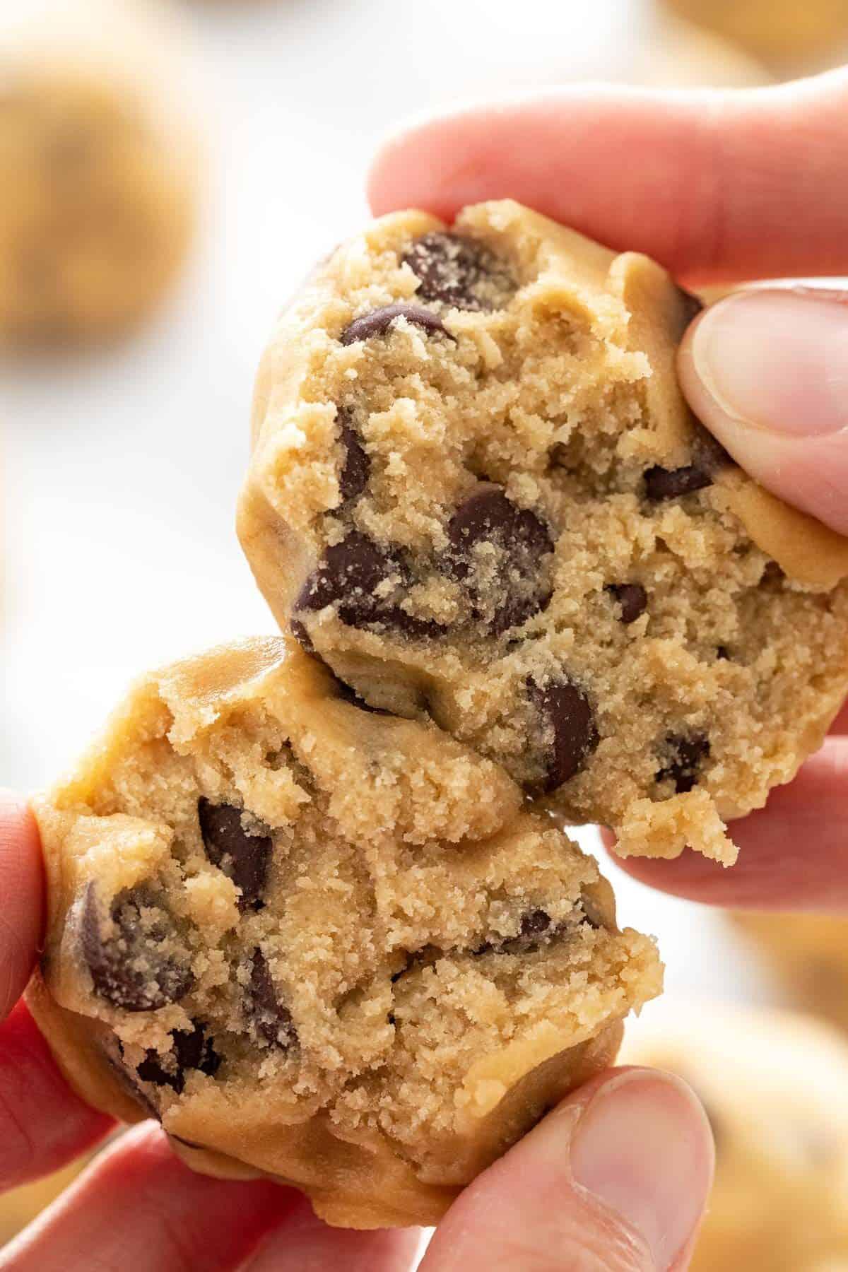 Tearing apart a cookie dough ball