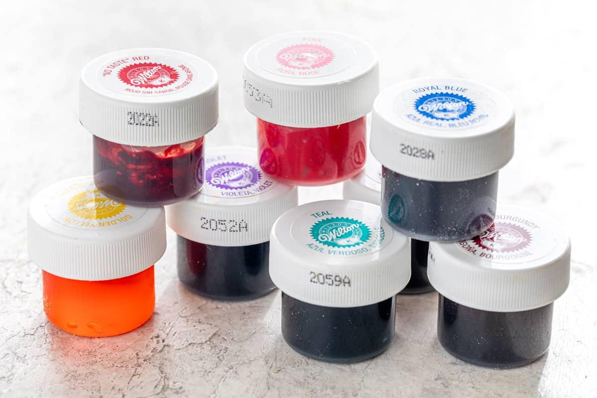 several gel coloring bottles