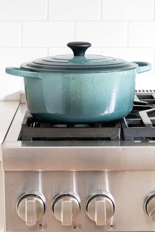 dutch oven on top of stovetop range