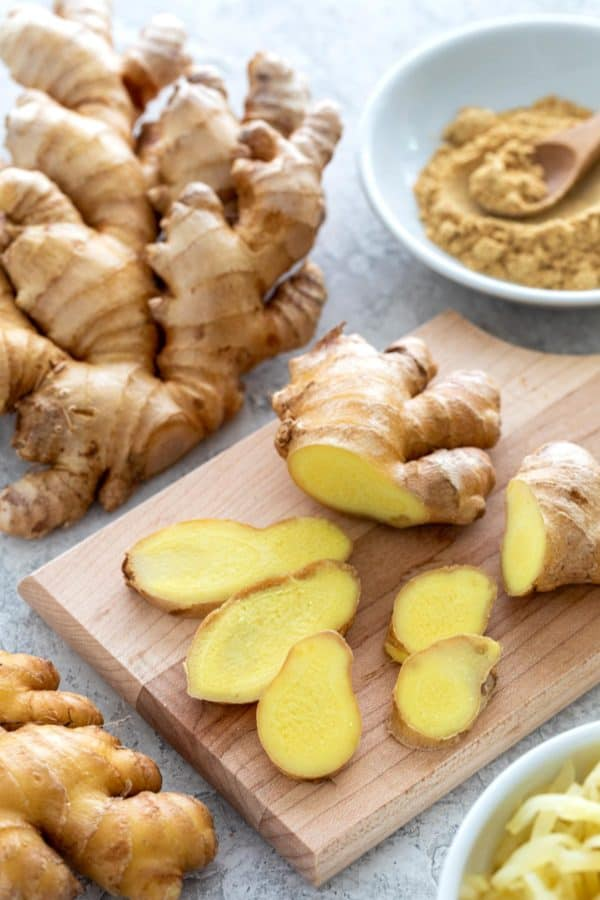 Ginger root cut into slices