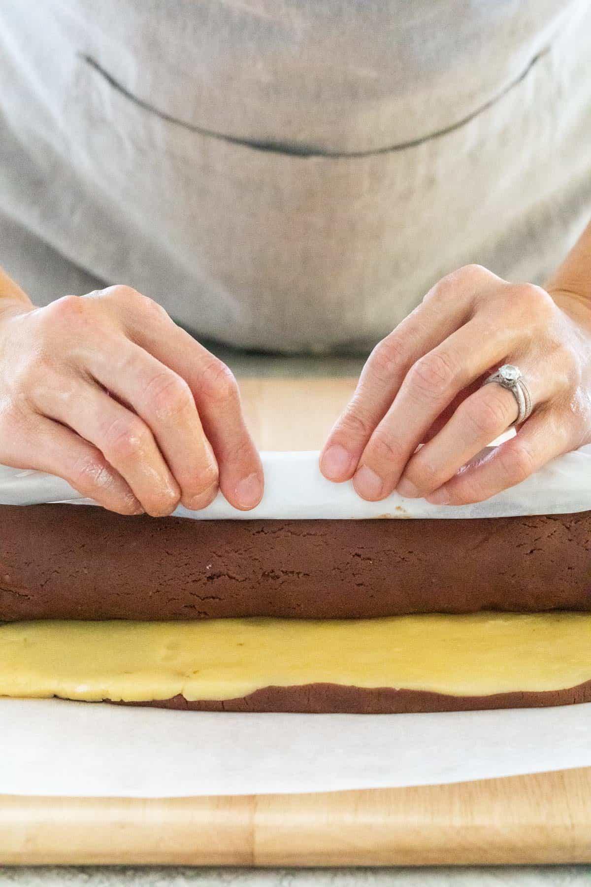 Rolling dough into a long tube