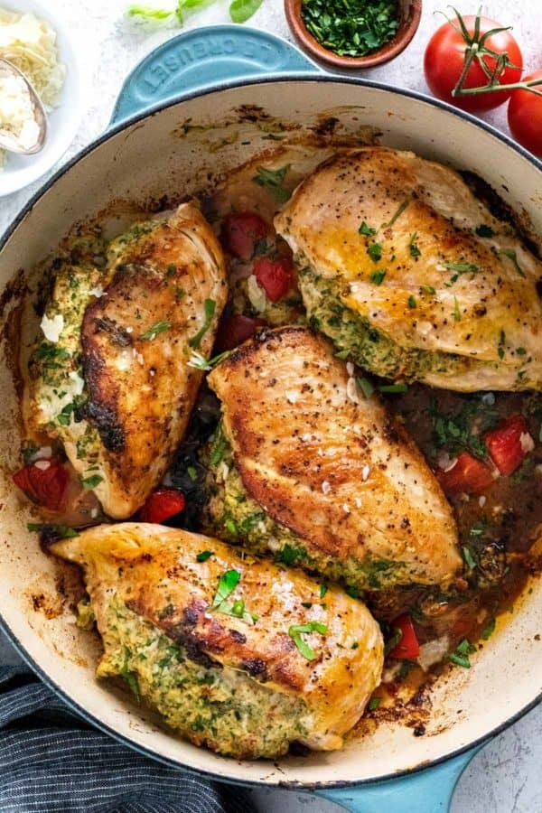 stuffed chicken breasts in a large pan